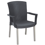 Grosfillex Havana Classic Stacking Armchair Charcoal 12 Per Case Price Per Each