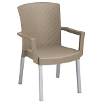Grosfillex Havana Classic Stacking Armchair Taupe 12 Per Case Price Per Each