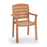 Grosfillex Acadia Stacking Armchair Teakwood 12 Per Case Price Per Each