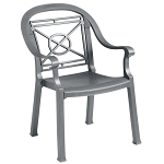 Grosfillex Victoria Classic Stacking Armchair Charcoal 12 Per Case Price Per Each