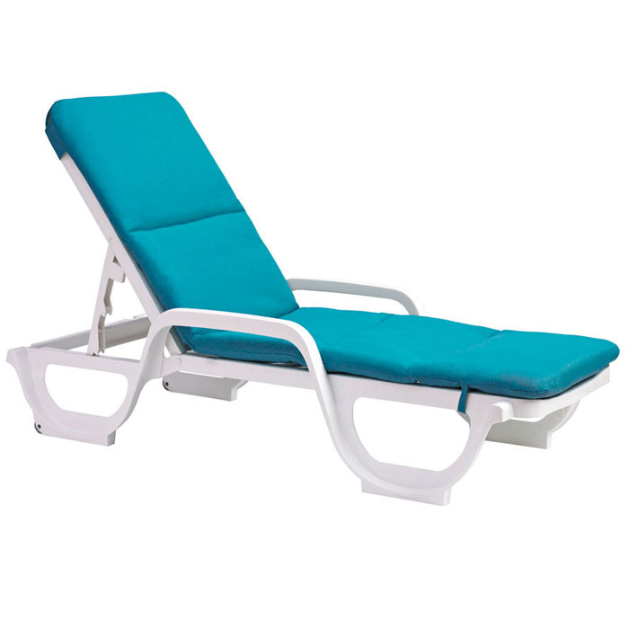 Grosfillex chaise cushion w hood aqua marine 6 per case for Aqua chaise lounge cushions