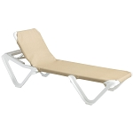 Grosfillex Nautical Stacking Adjustable Sling Chaise White Frame/Khaki Sling 12 Per Case Price Per Each