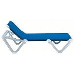 Grosfillex Nautical Stacking Adjustable Sling Chaise White Frame/Blue Sling 12 Per Case Price Per Each