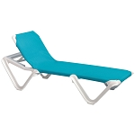 Grosfillex Nautical Stacking Adjustable Sling Chaise White Frame/Turquoise Sling 12 Per Case Price Per Each