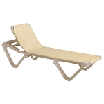 Grosfillex Nautical Stacking Adjustable Sling Chaise Sandstone Frame/Khaki Sling 12 Per Case Price Per Each