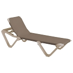 Grosfillex Nautical Stacking Adjustable Sling Chaise Sandstone Frame/Taupe Sling 12 Per Case Price Per Each
