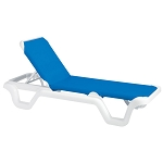 Grosfillex Marina Stacking Adjustable Sling Chaise White Frame/Blue Sling 14 Per Case Price Per Each