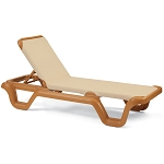 Grosfillex Marina Stacking Adjustable Sling Chaise Teakwood Frame/Khaki Sling 14 Per Case Price Per Each