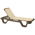 Grosfillex Marina Stacking Adjustable Sling Chaise Bronze Mist Frame/Khaki Sling 14 Per Case Price Per Each