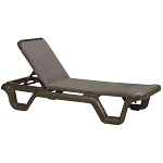 Grosfillex Marina Stacking Adjustable Sling Chaise Bronze Mist Frame/Espresso Sling 14 Per Case Price Per Each
