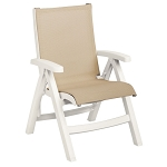 Grosfillex Belize Midback Folding Sling Armchair White Frame/Khaki Sling 2 Per Case Price Per Each