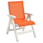 Grosfillex Belize Midback Folding Sling Armchair White Frame/Orange Sling 2 Per Case Price Per Each