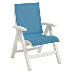 Grosfillex Belize Midback Folding Sling Armchair White Frame/Sky Blue Sling 2 Per Case Price Per Each