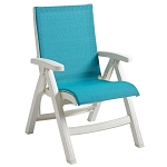 Grosfillex Belize Midback Folding Sling Armchair White Frame/Turquoise Sling 2 Per Case Price Per Each