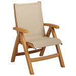 Grosfillex Belize Midback Folding Sling Armchair Wood Frame/Khaki Sling 2 Per Case Price Per Each