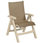 Grosfillex Belize Midback Folding Sling Armchair Sandstone Frame/Taupe Sling 2 Per Case Price Per Each