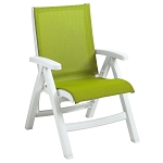 Grosfillex Belize Midback Folding Sling Armchair White Frame/Fern Green Sling 2 Per Case Price Per Each
