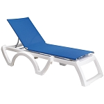 Grosfillex Calypso Stacking Adjustable Sling Chaise White Frame/Blue Sling 12 Per Case Price Per Each