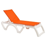 Grosfillex Calypso Stacking Adjustable Sling Chaise White Frame/Orange Sling 12 Per Case Price Per Each