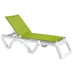 Grosfillex Calypso Stacking Adjustable Sling Chaise White Frame/Fern Green Sling 12 Per Case Price Per Each