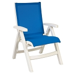 Grosfillex Belize Midback Folding Sling Armchair White Frame/Blue Sling 2 Per Case Price Per Each