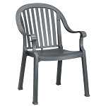 Grosfillex Colombo Classic Stacking Armchair Charcoal 12 Per Case Price Per Each