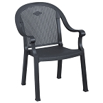 Grosfillex Sumatra Classic Stacking Armchair Charcoal 16 Per Case Price Per Each