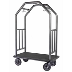 Hospitality 1 Source Coastal Classic Series Bellman's Cart Brushed Stainless Steel/Black Rubber Mat