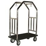 Hospitality 1 Source Estate Series Bellman's Cart Stainless Steel/Black Carpet/Black Bumper