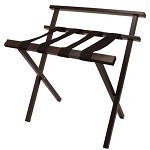 Hospitality 1 Source Metropolitan Powder Coat Luggage Rack w/ Back & Black Straps Brown Finish 4 Per Case Price Per Each