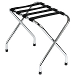 Hospitality 1 Source Chrome Finish Luggage Rack w/ Black Straps 4 Per Case Price Per Each