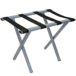 Hospitality 1 Source Metropolitan Powder Coat Luggage Rack w/ Black Straps Silver Finish 4 Per Case Price Per Each