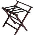 Hospitality 1 Source Contour Wooden Luggage Rack w/ Back & Black Straps Dark Cherry Finish 4 Per Case Price Per Each