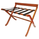 Hospitality 1 Source Extra-Wide Wood Luggage Rack w/ Black Straps Light Mahogany Finish 2 Per Case Price Per Each