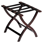 Hospitality 1 Source Contour Wooden Luggage Rack w/ Black Straps Walnut Finish 2 Per Case 2 Per Case Price Per Each