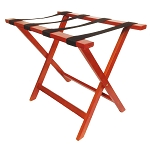Hospitality 1 Source Deluxe Wooden Luggage Rack w/ Black Straps American Cherry Finish 4 Per Case Price Per Each