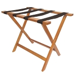 Hospitality 1 Source Deluxe Wooden Luggage Rack w/ Black Straps Medium Oak Finish 4 Per Case Price Per Each