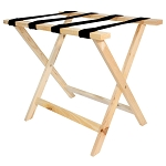 Hospitality 1 Source Deluxe Wooden Luggage Rack w/ Black Straps Natural Finish 4 Per Case Price Per Each