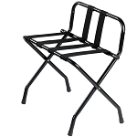 Hospitality 1 Source Powder Coat Luggage Rack w/ Back & Black Straps Black Finish 4 Per Case Price Per Each