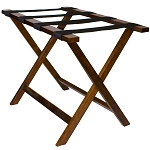 Hospitality 1 Source Deluxe Wooden Luggage Rack w/ Black Straps Walnut Finish 4 Per Case Price Per Each
