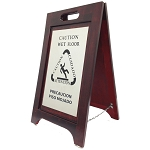 Hospitality 1 Source Wet Floor Sign Nickel/Walnut Finish 2 Per Case Price Per Each