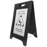 Hospitality 1 Source Wet Floor Sign Nickel/Black Finish 2 Per Case Price Per Each