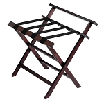 Hospitality 1 Source Prestige Wooden Luggage Rack w/ Backrest & Black Straps Dark Cherry Finish 4 Per Case Price Per Each