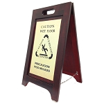 Hospitality 1 Source Wet Floor Sign Brass/Walnut Finish 2 Per Case Price Per Each