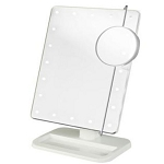 Jerdon JS811W LED Lighted Tabletop Makeup Mirror 1X-10X Magnification w/ Adjustable Spot White 6 Per Case Price Per Each
