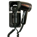 Jerdon JWM6CB ProVersa 1600 Watt Wall Mount Hair Dryer 2 Speeds/3 Heat Settings Auto Off Black 6 Per Case Price Per Each