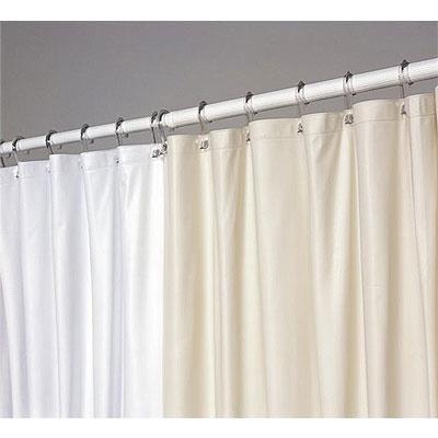JS Fiber 10 Gauge Ultra Suede Vinyl Shower Curtain 6u0027x6u0027 White Or Beige 24  Per Case Price Per Each