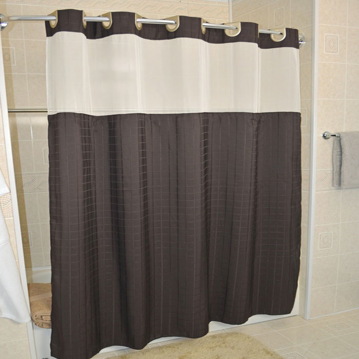 Home Kartri Hang2it Shower Curtains Millennium Polyester Curtain W Window Snap Away Liner 71x74 Brown Brushed
