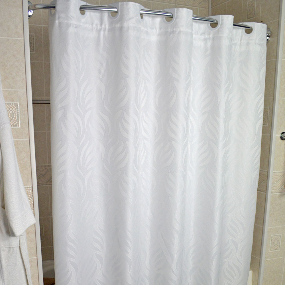 Home Shower Curtains Liners Kartri Hang2it Woven Wave Polyester Curtain W Snap Away Liner 72x74 White 12 Per Case Price Each
