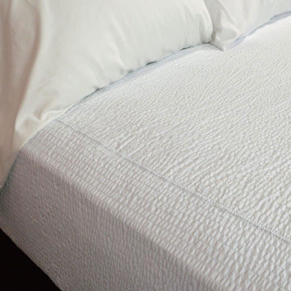 Kartri Kar Ripple Decorative Top Sheet W/ Square Corners Queen 90x95 65%  Poly 35% Cotton White 12 Per Case Price Per Each